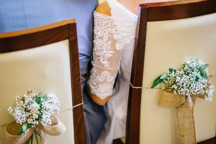 Wedding Chairs (baby's breath, wax flowers); poročni stoli (šlajer)