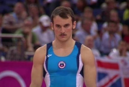 Mustache, eyebrow ring, sideburns, haircut: the total package.  Enrique Tomas Gonzalez Sepulveda, gymnast, Chile