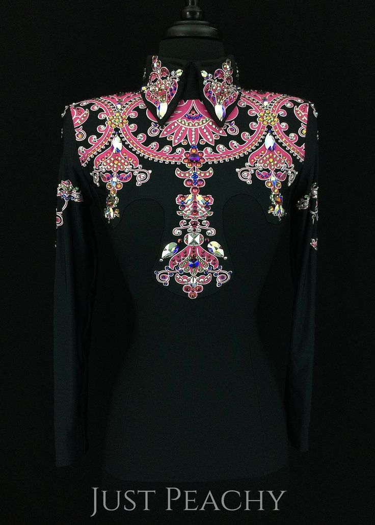 Black and Pink Western Horsemanship Shirt by Paintedj ~ Just Peachy Show Clothing