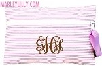 $15.99 Monogrammed Seersucker Cosmetic Bag in LilacSeersucker Cosmetics, 15 99 Monograms, Retail Therapy, Beach Fave, Monograms Seersucker, Cosmetics Bags, Marley Lilly, Lilly Beach