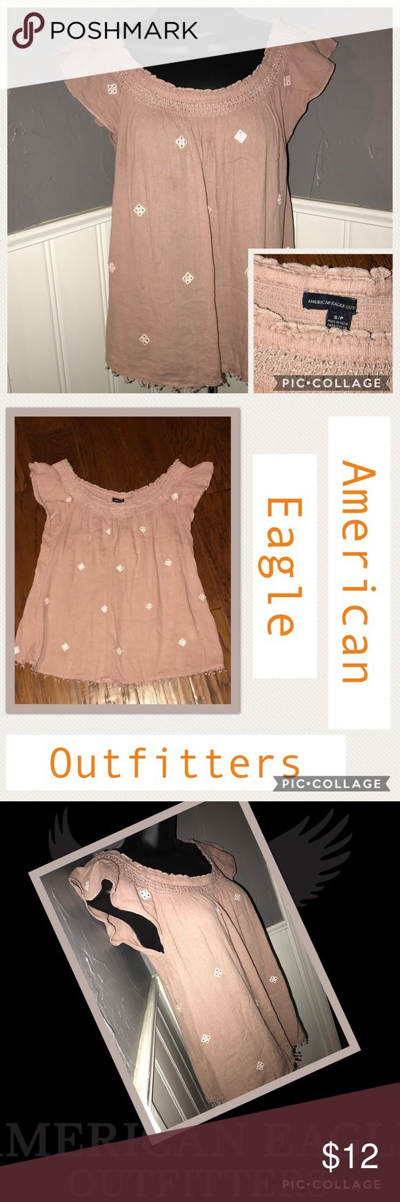 American Eagle 🦅 Outfitters Cute New Top Scoop neck in front and back. Gorgeous American 🦅 Eagle Top New WOT Size S/P. Fits Small and S/P perfect. Gorgeous Rose Gold Color. Don't forget to bundle so I can give you a private price. American Eagle Outfitters Tops Tunics