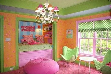 Girls playroom.  Built-in pullout trundle bed!