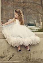 Горячие продаж нового длиной до пола тюль девушки торжества платья спагетти ремень бальное платье цвета слоновой кости детские платья для свадеб F15(China (Mainland))