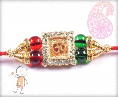 buy online rakhi - #Designer #Diamond #Traditional #Rakhi, Auspicious OM Traditional Diamond Rakhi, surprise your loved ones with roli chawal, chocolates and a greeting card as it is also a part of our package and that too without any extra charges. http://www.bablarakhi.com/