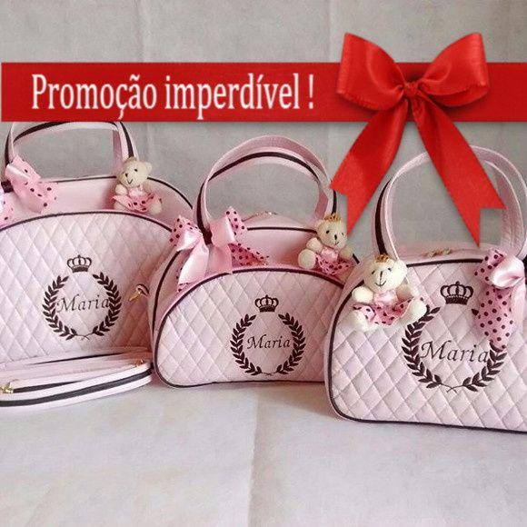 Kit Bolsa Maternidade Personalizada 3 pç