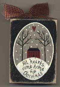 """All Hearts Come Home for Christmas"" Sill Sitter...simple little item, tutorial includes line drawing for image."