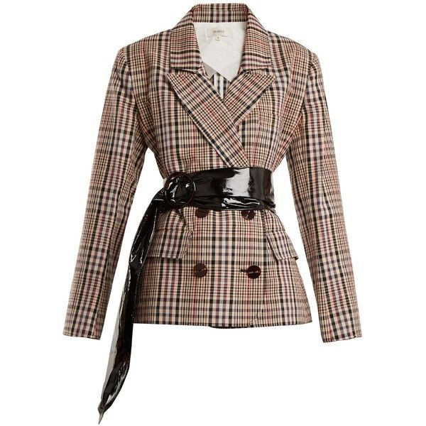 Isa Arfen Double-breasted checked cotton blazer ($995) ❤ liked on Polyvore featuring outerwear, jackets, blazers, beige multi, double-breasted blazers, double breasted jacket, padded shoulder blazer, checkered jacket and tailored blazer