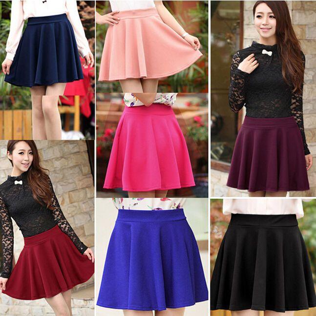 Women's Short Stretch high Waist Skirt Plain Skater Flared Pleated Mini Dresses #Unbranded #Mini