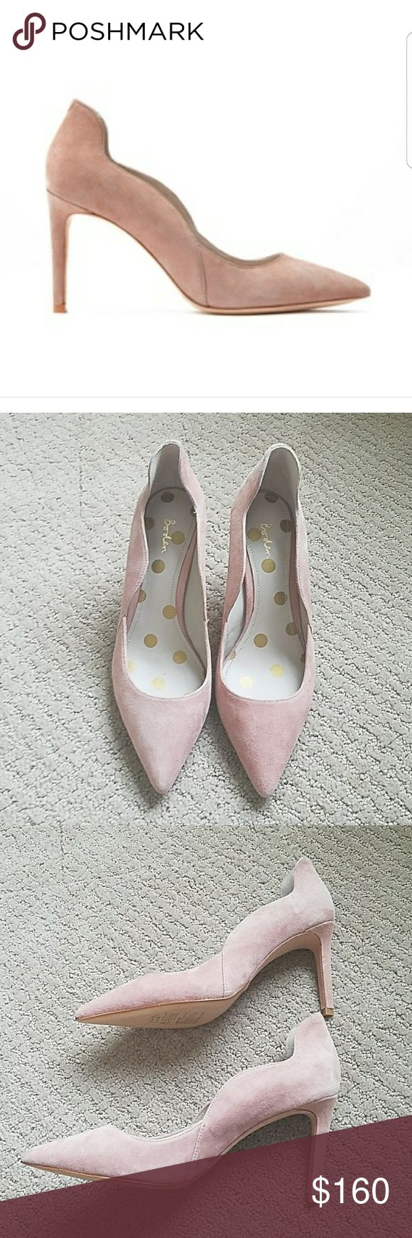Boden Pink Suede Wave heel Never worn. New without box Boden Shoes Heels