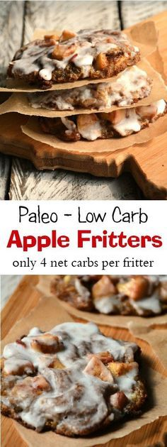 These paleo low carb Apple Fritters have only 4 net carbs per fritter! Now that's a recipe we love!