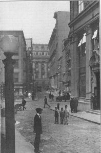 New Amsterdam's first paved street.