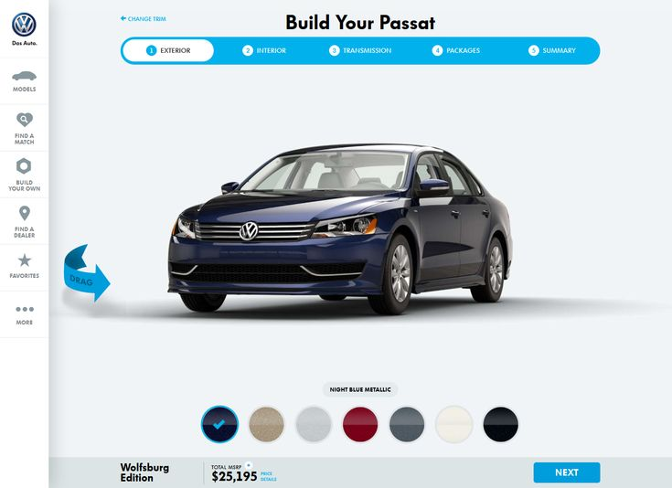 #UX #UI  Built your auto http://www.vw.com/models/passat/trims/2015/1-8t-wolfsburg-trim/edit/
