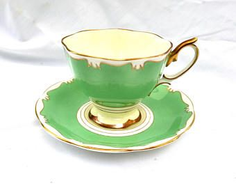 Teacup green and gold  Royal Albert Bone China tea cup and saucer made in England