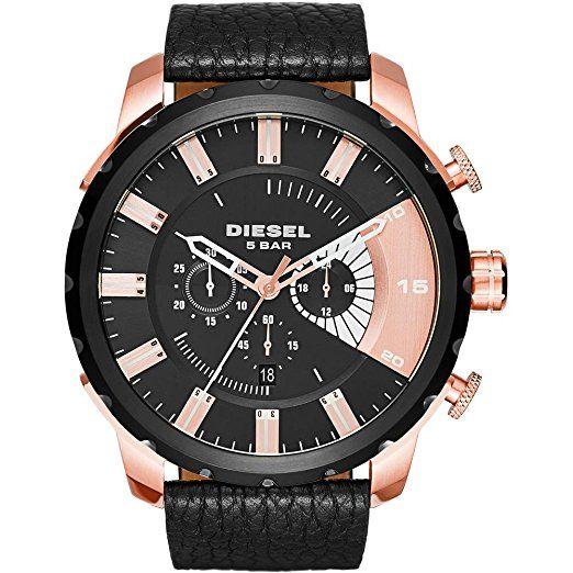 Diesel DZ4347 - Reloj de pulsera Hombre, Cuero, color Negro