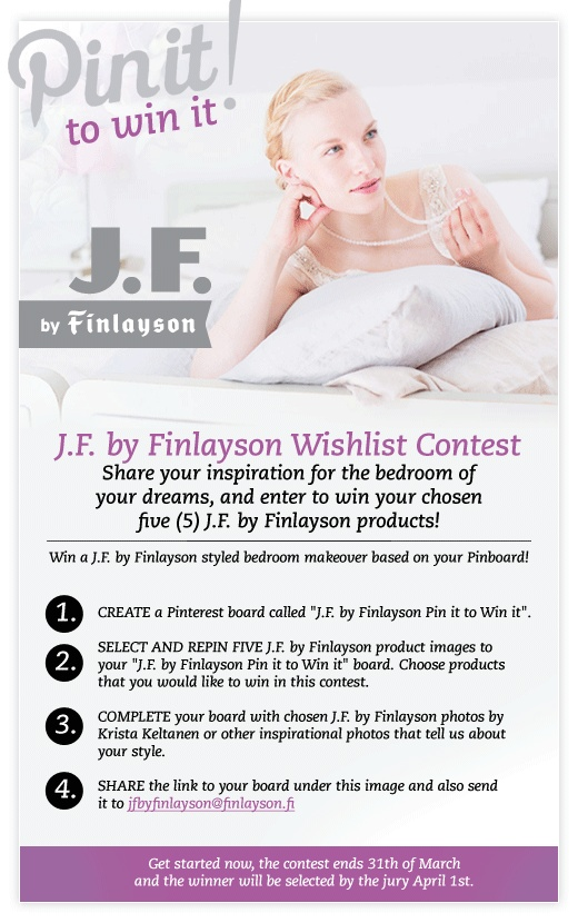 J.F. by Finlayson Wishlist Contest! Share your inspiration for the bedroom of your dreams, and enter to win your chosen five (5) J.F. by Finlayson products!