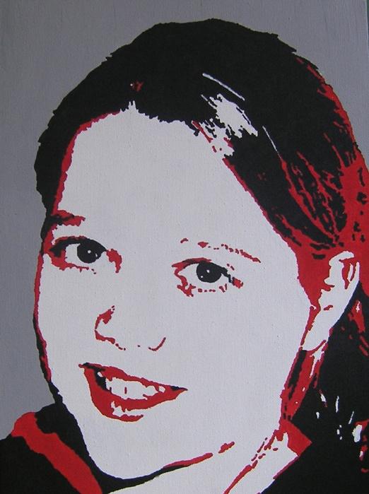 Jinke (11 jr.) geschilderd in pop-art stijl op een doek van 30 X 40 cm, in de kleuren van haar slaapkamer.