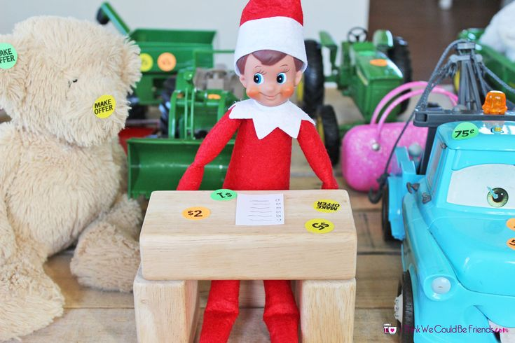 35 New Elf on the Shelf Ideas: #1 Garage Sale via @dawnmadsen
