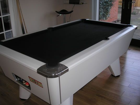 Installation Of A Supreme Winner Pool Table With White Cabinet And Black  Cloth.