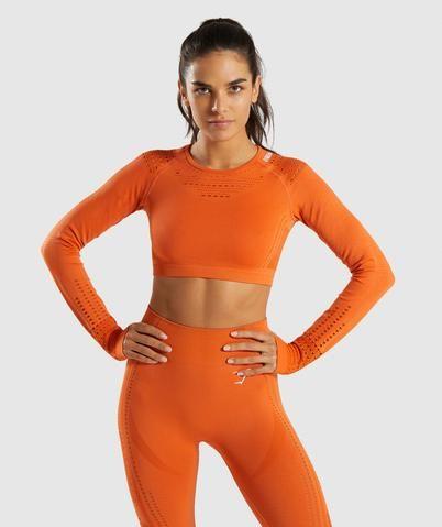 14e19c3649137 Gymshark Flawless Knit Long Sleeve Crop Top - Burnt Orange in 2019 ...