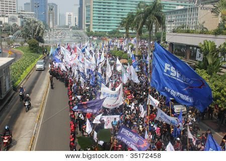 Workers marched in Jakarta.