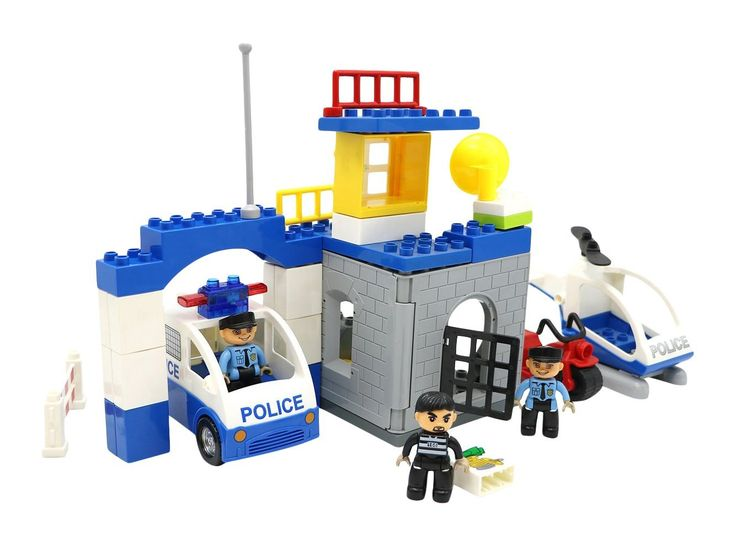 Quick details but useful! Cops and Robbers Building Block Play Set with 45 Pcs that Are Interchangeable with Duplo Building Bricks Parts #2017 #2017newreleases #newest2017