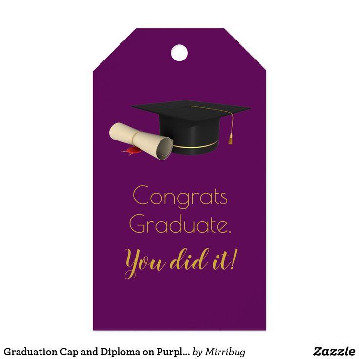 Graduation Cap and Diploma on Purple Congrats