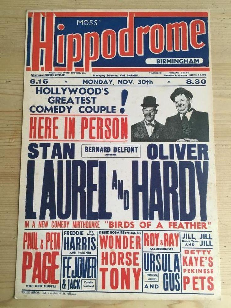 Birmingham Hippodrome Theatre Poster Laurel and Hardy