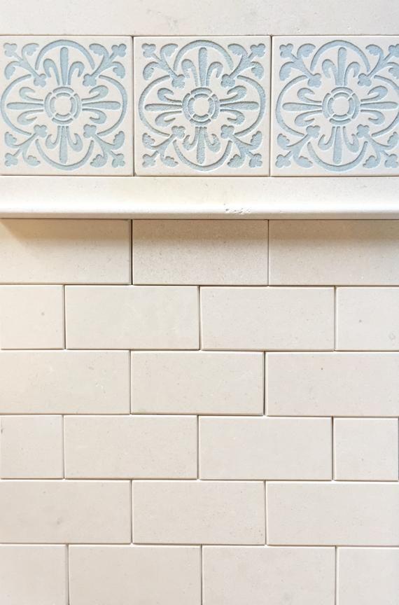 crema luna white stone subway tiles and