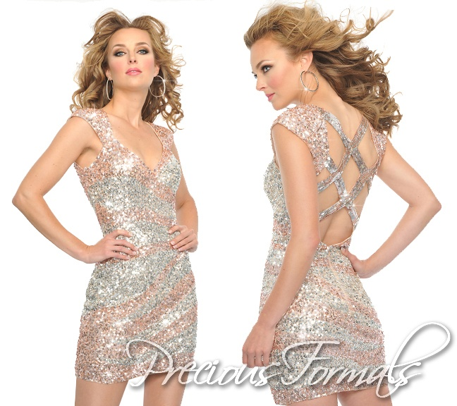 Champagne and silver with cap-sleeves! #PreciousFormals #IPAProm #homecomingdresses #dress
