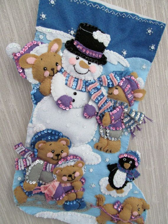 handmade felt christmas stockings | Snow Days Completed Handmade Felt Christmas Stocking from Bucilla Kit