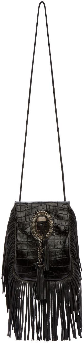 Saint Laurent: Black Fringed Croc Anita Shoulder Bag | SSENSE