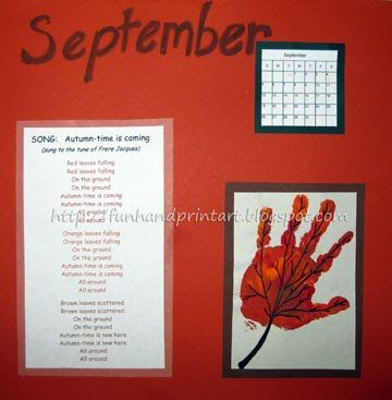 1st Day of Autumn Craft - make a handprint leaf, includes a cute Fall song for kids