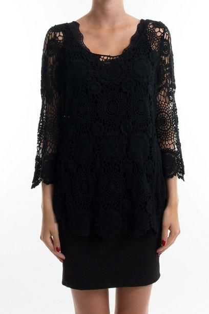 AJA BLUSE- Black shear crochet top.