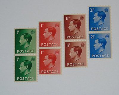 Stamp Pickers Great Britain 1936 Edward VIII MNH Pairs Lot Sc #230-233