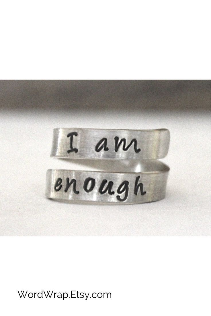 I Am Enough Twist Ring In 925 Sterling Silver Our Hand Stamped Spiral Wrap Around Ring Provides A Simple Silver Jewelry Stamped Jewelry Hand Stamped Jewelry