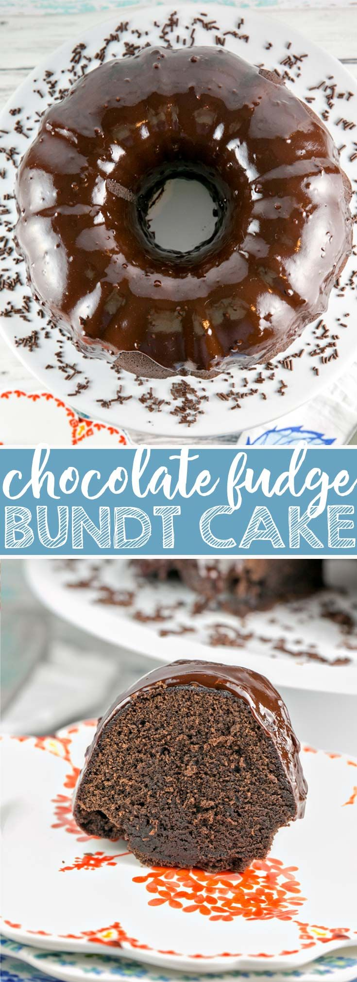 Chocolate Fudge Bundt Cake: a rich, fudgy chocolate cake, covered in chocolate ganache.  Easy enough for everyday, delicious enough for a celebration.  {Bunsen Burner Bakery} #cake #chocolatecake #bundtcake via @bnsnbrnrbakery