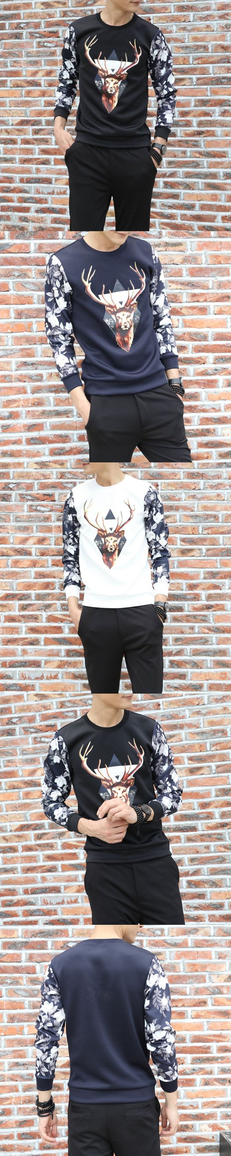 SHIFOPUTI Antumn O-neck 3D Printed Deer New Fashion Casual Long Sleeve Slim Men's Popular Brand Clothing High Quality T shirt