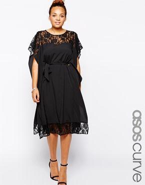 ASOS CURVE Lace Insert Kimono Dress