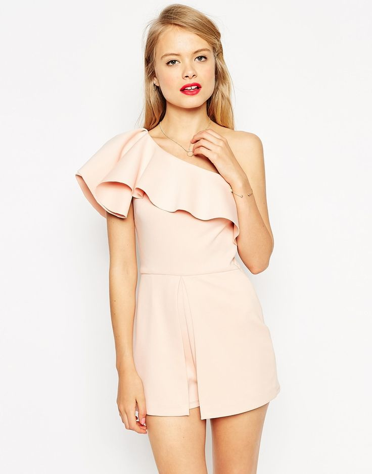 Image 1 of ASOS Occassion Playsuit with One Shoulder Ruffle