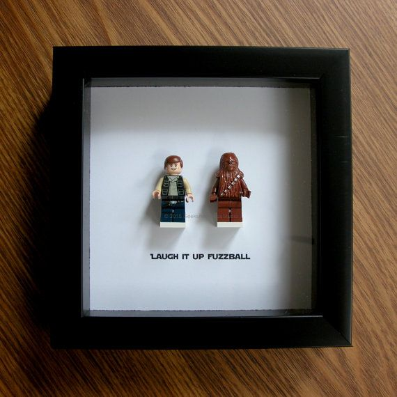 Star Wars Framed Art - LEGO Han Solo & Chewbacca - LEGO Minifigure Display - Wedding Gift - Wall Decor - Picture Frames Displays