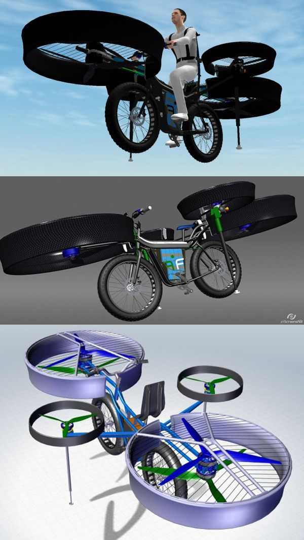 Helicopter Bike // This crazy thing is reportedly real, set to roll out at an engineering fair in September.