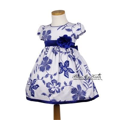 Girls Cotton Floral dress in Blue QSDS631