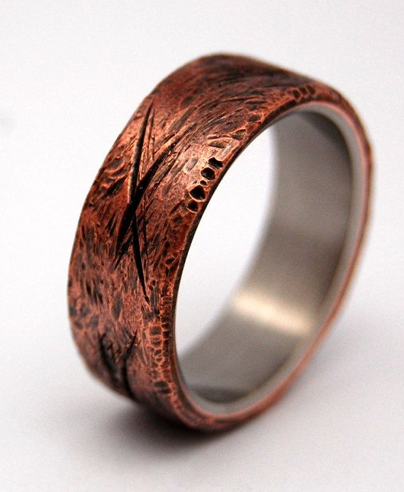 hand beaten copper titanium wedding band by