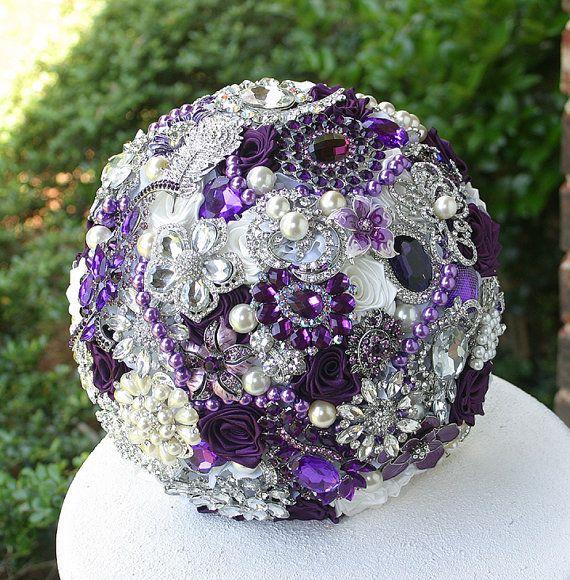 Purple eggplant and ivory brooch wedding bridal by annasinclair
