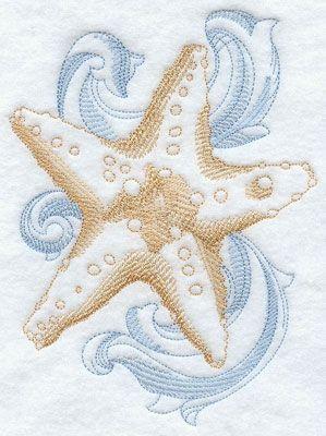 A baroque starfish machine embroidery design.
