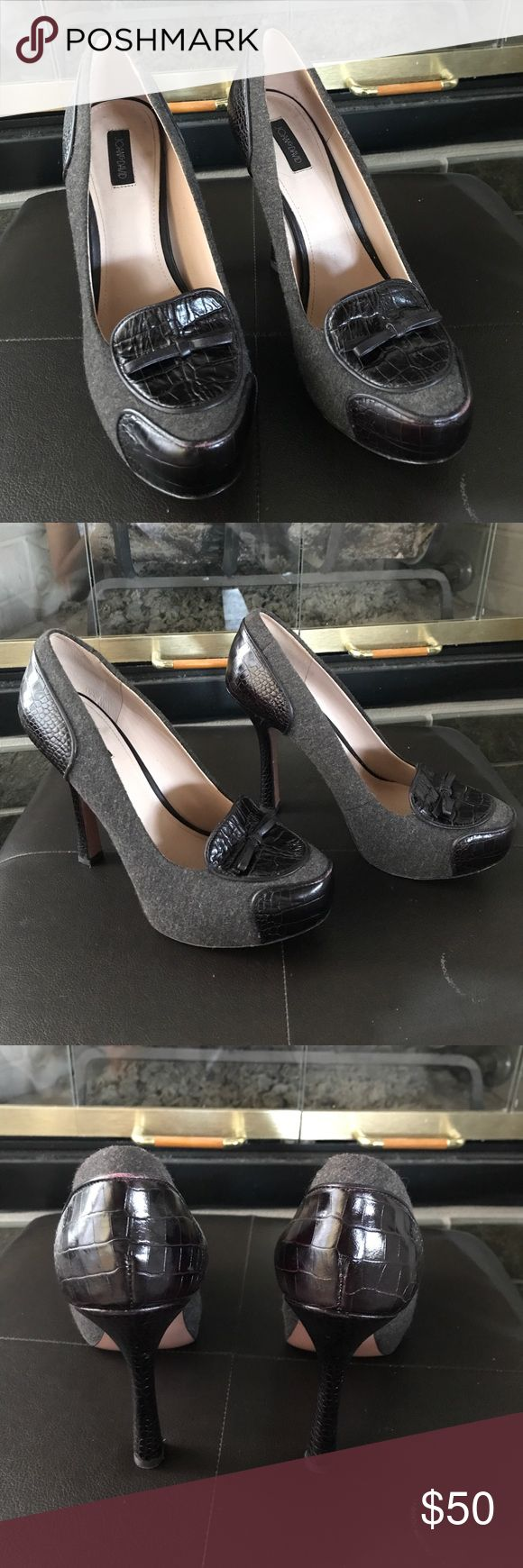 Joan & David platform heels. Joan & David platform heels. Gray fabric and dark brown leather give these shoes a very rich look! Perfect for those fall and winter outfits! Only wore a couple times, then I got prego and my feet grew! Super cute shoes, you will love them! Joan & David Shoes Platforms