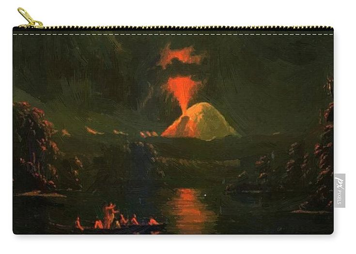 Mount Carry-all Pouch featuring the painting Mount St Helens Erupting At Night by Kane Paul