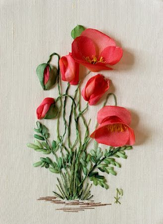 *RIBBON ART ~  Poppies