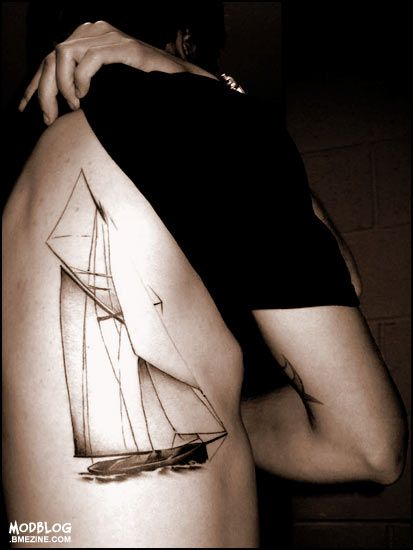 Yacht sailing tattoo