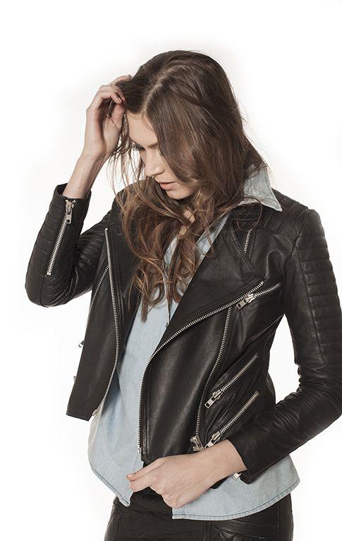 Black Leather Jacket must-have #leatherjacket #blackleatherjacket #balmain #leatherskirt #fashion #onlinefashion